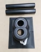 Dubbele schoorsteenopstand met vlakke plaat diam 2 x 80mm