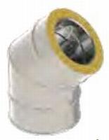 Coude double paroi 45°  80/130 inox 316/inox 304